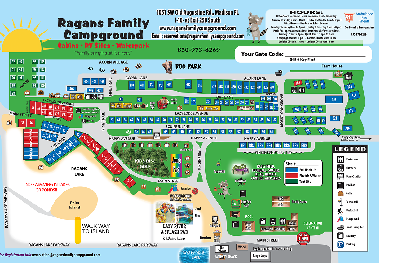 campground map for ragans family campground in madison florida